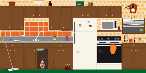 Interior of an old dirty outdated kitchen before renovation, EPS 8 vector illustration