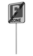 Deutsches Verkehrszeichen: Ende Parkraumbewirtschaft Zone, auf weiß isoliert.