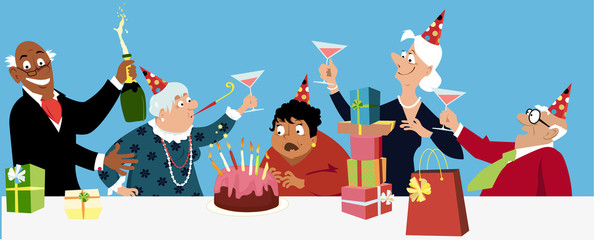 Diverse group of happy active seniors celebrates a birthday with a cake, EPS 8 vector illustration