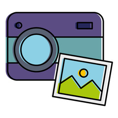 photographic camera with picture vector illustration design