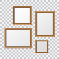 Vector realistic wooden picture frames set isolated on transparent background