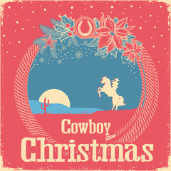 Cowboy retro Christmas card with cowboy lasso and holiday decoration