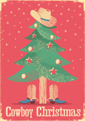 Cowboy Christmas card with tree and western clothes.