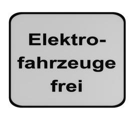 Deutsches Verkehrszeichen (Zusatzschild): elektrisch betriebene Fahrzeuge frei (Text in deutsch), auf weiß isoliert.