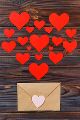 A lot of letters with love. Lover's holiday confession or proposal concept. Valentine day love letter