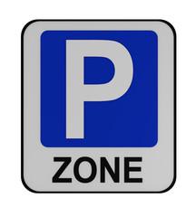 Deutsches Verkehrszeichen: Beginn Parkraumbewirtschaftungszone, auf weiß isoliert.