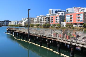 malerisch bunte Häuserzeile am Wasser des Misson Bay.Where: San Francisco, USA.When: 24.02.2013.
