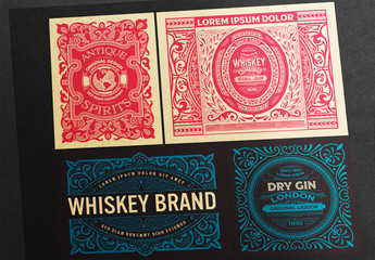 4 Vintage Labels in Red and Blue