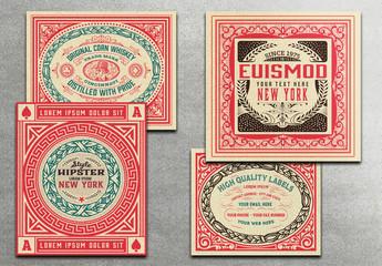 4 Red Vintage Labels