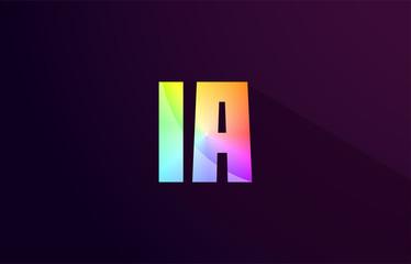 ia i a letter combination rainbow colored alphabet logo icon design