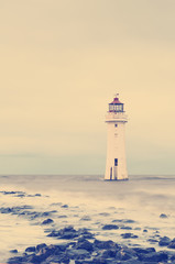 Vintage Retro Photo Filter Effect - New Brighton Perch Rock Light House, Merseyside, Birkenhead, The Wirrel, England, UK