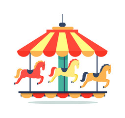 Bright Revolving Carousel Icon Vector Illustration