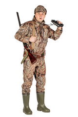 male hunter with double barreled shotgun Isolated on white background. hunting and people concept.