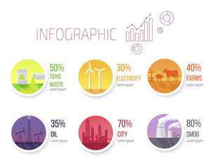 Pollution Statistic and Round Images Infographic