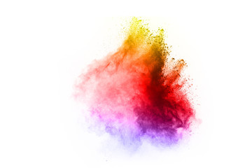 abstract multicolored powder splatted on white background,Freeze motion of color powder exploding.