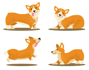Playing Corgi Dog Set of Icons Vector Illustration