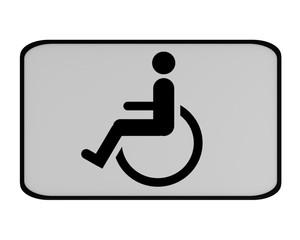 Deutsches Verkehrszeichen (Zusatzschild): Behindertenparkplatz, auf weiß isoliert.