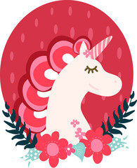 Red unicorn in flowers