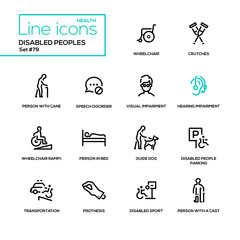 Disabled people - line design icons set