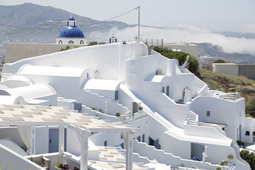 Typical white houses in Santorini island, Greece