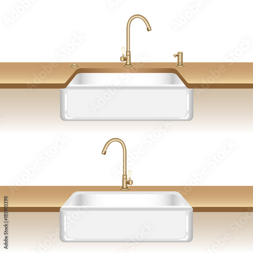 Clean White Kitchen Sink Brass Kitchen Water Tap And Soap Dispenser