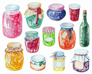 Set jars of jam. Watercolor hand painted illustration