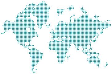 Welt Karte Punkte blau isoliert