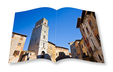Medieval buildings of San Gimignano (Tuscany - Italy) - 3D render of an opened photo book isolated on white background