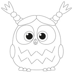 Cute baby girl owl black and white poster