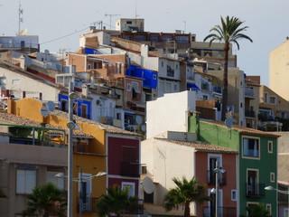 Casas de colores de Villajoyosa (Alicante) Pueblo de la Comunidad Valenciana, España situado en la Costa Blanca