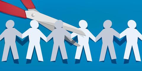 chaine - papier - concept - ensemble - groupe -ciseaux - couper - union - cassé - travail d'équipe