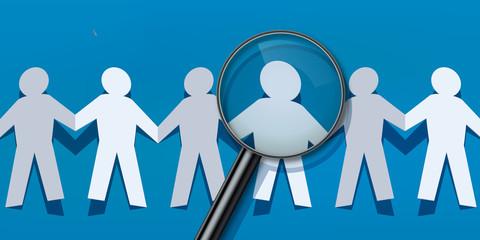 chaine - papier - concept - rechercher - choix - choisir - réussite - succès - recherche - loupe -leader