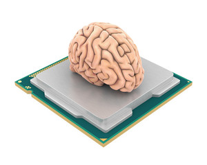 Computer Processor CPU with Human Brain Isolated