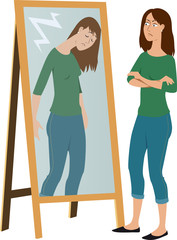 Woman judging her own ashamed reflection in the mirror, EPS 8 vector illustration