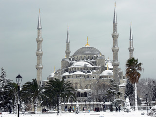 Blue Mosque in the snowy Istanbul, Turkey