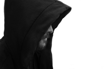 Unrecognized, Hooded Person on white