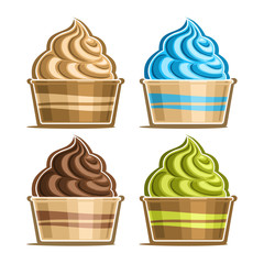 Vector set of Ice Cream in paper cup, variety soft serve sundae in cardboard tub box for menu cafe takeaway, icons of italian fruit swirl ice cream, vegan frozen twisted dessert in design packaging.