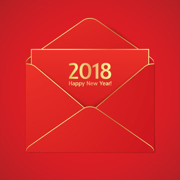 Red envelope with golden strokes and 2018 sign. New year elegant greetig card.