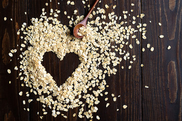 Oat flakes with heart shape