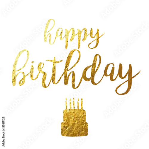 Happy Birthday Script Gold Foil Vector Illustration 1