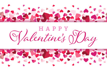 Happy Valentines Day Floating Hearts Center Banner Vector Background 1