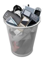 Waste Basket Full of Mobile Phones