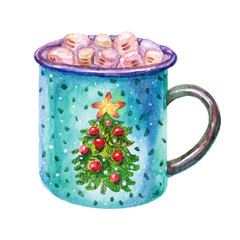 Colorful Watercolor Coffee marshmallow mug with Christmas tree illustration isolated on white background