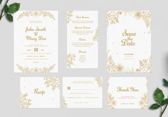 Gold Floral Wedding Invitation Set