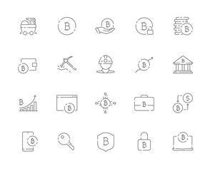 Simple set of Bitcoin related vector line web icons. Contains such Icons as Bitcoin, Miner, Distribution, Security, Portfolio and more. Editable Stroke. 48x48 Pixel Perfect.