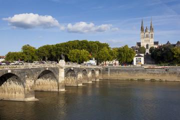 Verdun bridge and cathedral, Angers, Maine-et-Loire, France