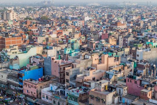 DELHI, INDIA - OCTOBER 22, 2016: Aerial view of Old Delhi, India.