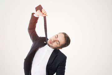 Man in Suit Hanging Himself with His Tie