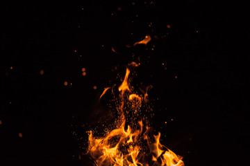 fire spark fire black background