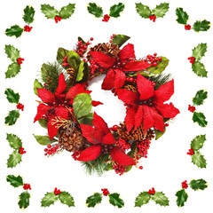 Christmas wreath with poinsettia surrounded by Holly leaves and berries